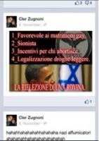 """Nur ein Beispiel der politischen Postings von Cler Zugnoni:""""1_Begünstigt die Ehe für Homosexuelle, 2_Zionist, 3_Anreize für Abtreibung, 4_Legalisierung von weichen Drogen - Die Wiederwahl einer Ruine"""""""