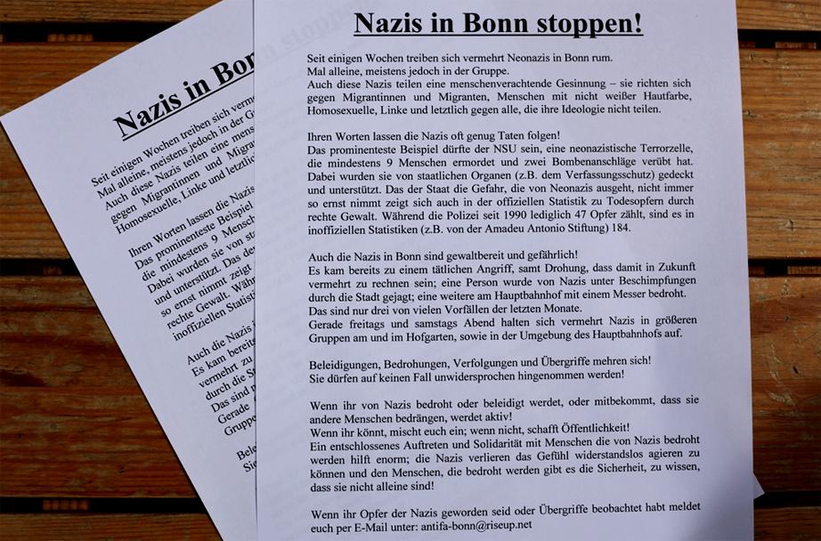 Die Flyer welche in Bonn verteilt wurden.