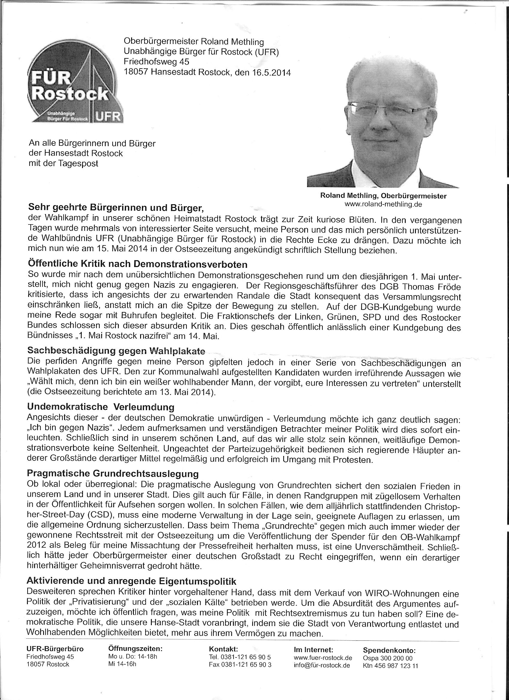 gefälschtes Bürgermeisterschreiben, Rostock 2014