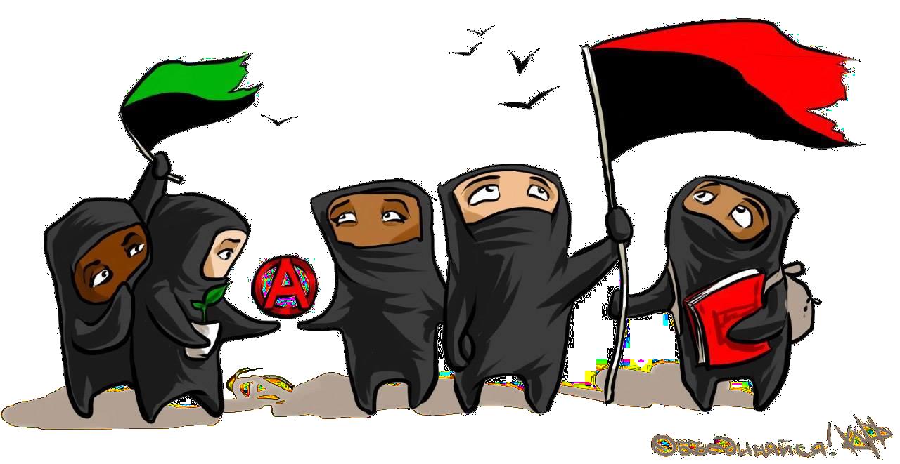 [Zeichnung: fünf schwarz gekleidete Figuren mit schwarz-roter und schwarz-grüner Fahne, umkreisten A, Pflanze und Buch; darüber fünf Vögel