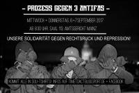 Prozessflyer: TIME TO ACT – Prozess gegen drei Antifaschisten in Mainz - 6.-7.9.2017
