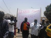 Gambia opposition member Solo Sandeng leading the protest at Westfield Junction before he died in custody. Sandeng with the megaphone with UDP protesters at Westfield Junction.