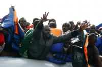 MOAS rescue 105 migrants in rubber dinghy October 4, 2014.Photo: Darrin Zammit Lupi/MOAS