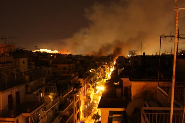 burning streets of athens