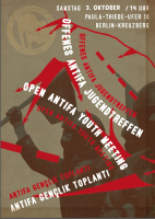 Flyer Vorderseite: Offenes Antifa Jugendtreffen / Open antifa youth meeting / Antifa gençlik toplanti