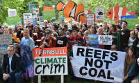 Protesters in Melbourne last week against the federal government's offer to Adani of a $1bn taxpayer-funded loan to build a railway line to its Carmichael coalmine.