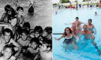 Charles Perkins and local Moree children at the pool in 1965 alongside a photo taken in 2015 of Perkins' daughter Rachel reunited with some of those in the original photo.