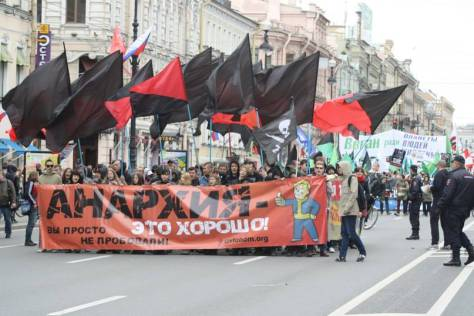 Der AnarchistInnenblock, 1. Mai 2014, St. Petersburg