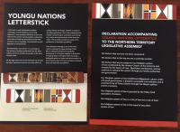 Yolngu Nations letterstick on treaty and sovereignty , presented to the Northern Territory parliament on October 18th by Yingiga Mark Guyula MLA.