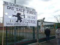 "Illegal Gorleben nuclear storage raided by local protesters. ""Put the salt back into the ground,"" says the sign. jpg"